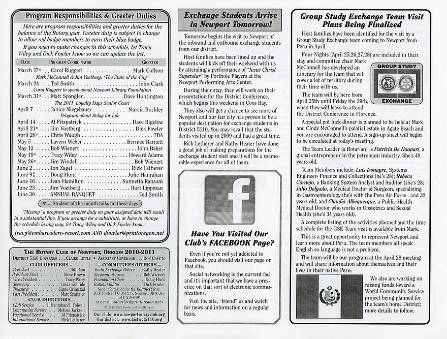 Rotary of Newport, Oregon Newsletter- March 10, 2011