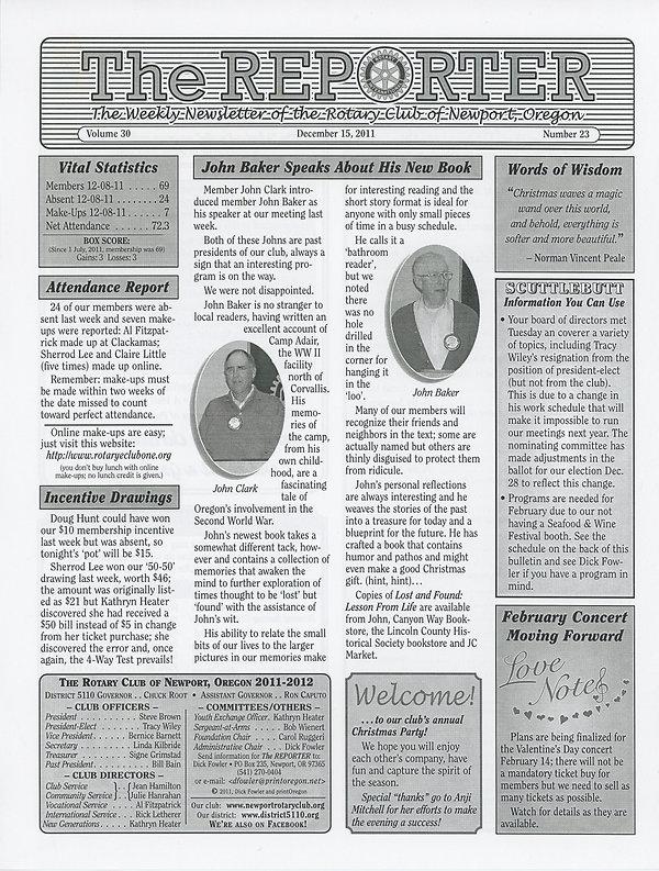 Rotary of Newport, Oregon December 15, 2011 newsletter