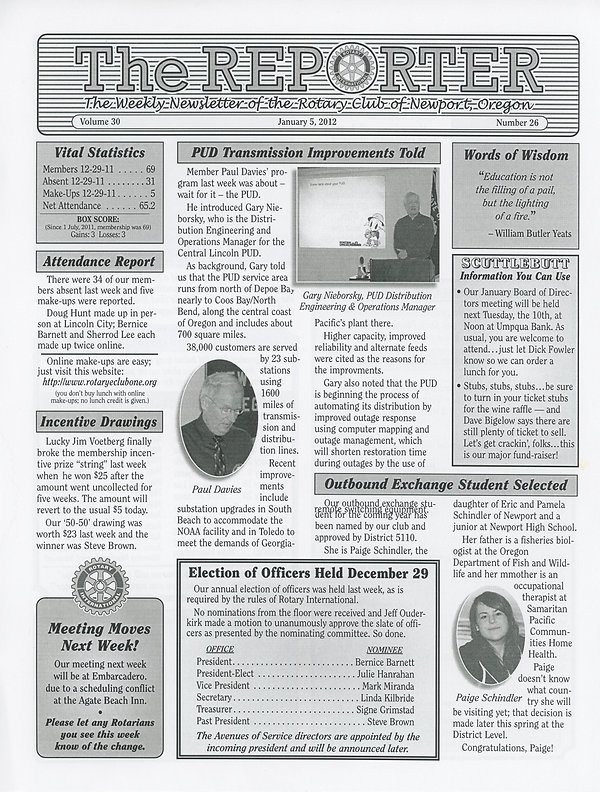 January 5, 2012 Rotary of Newport Newsletter
