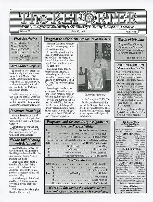 June 13, 2013 Rotary of Newport Newsletter