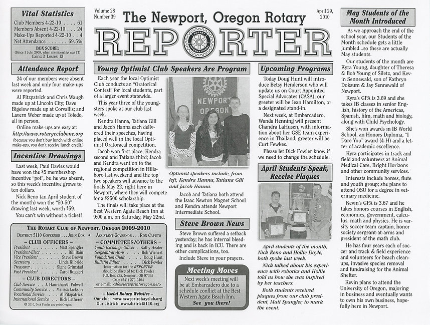 Rotary of Newport, Oregon April 29, 2010 newsletter