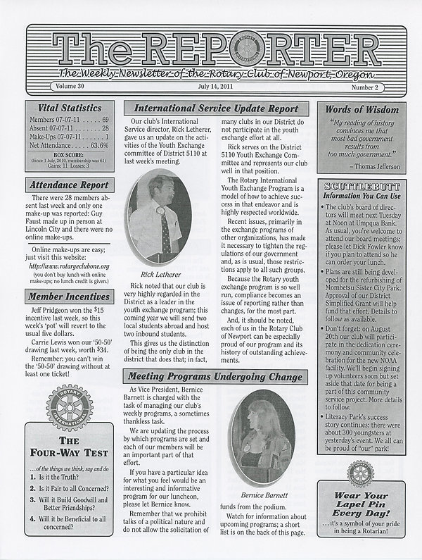 Rotary of Newport, Oregon July 14, 2011 newsletter