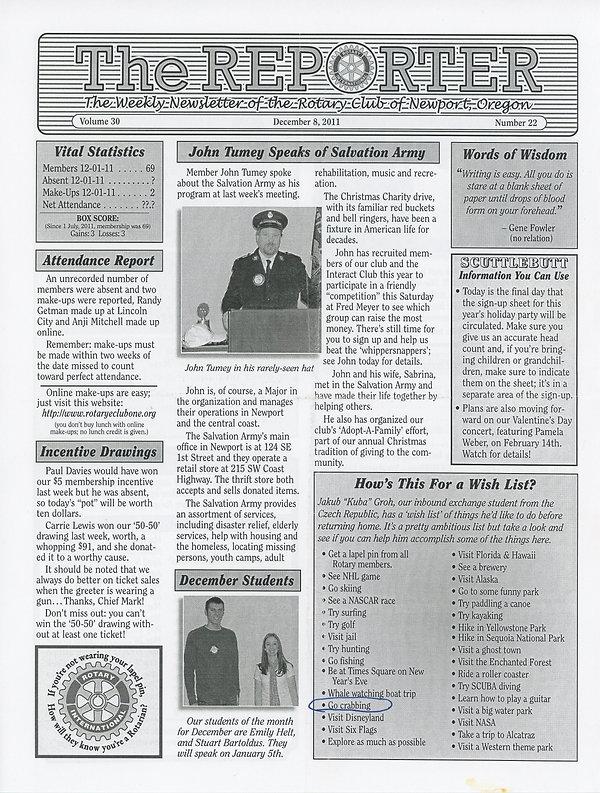 Rotary of Newport, Oregon December 8, 2011 newsletter