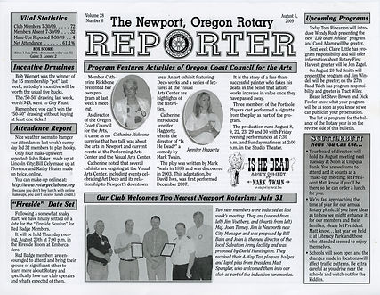 Rotary of Newport, Oregon August 6, 2009 newsletter