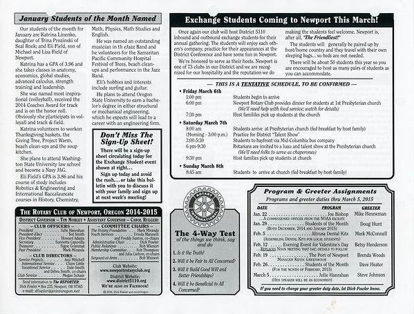 January 22, 2015 Rotary of Newport Newsletter