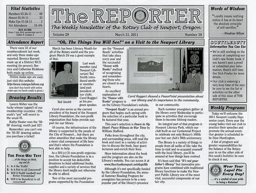 Rotary of Newport, Oregon Newsletter- March 31, 2011