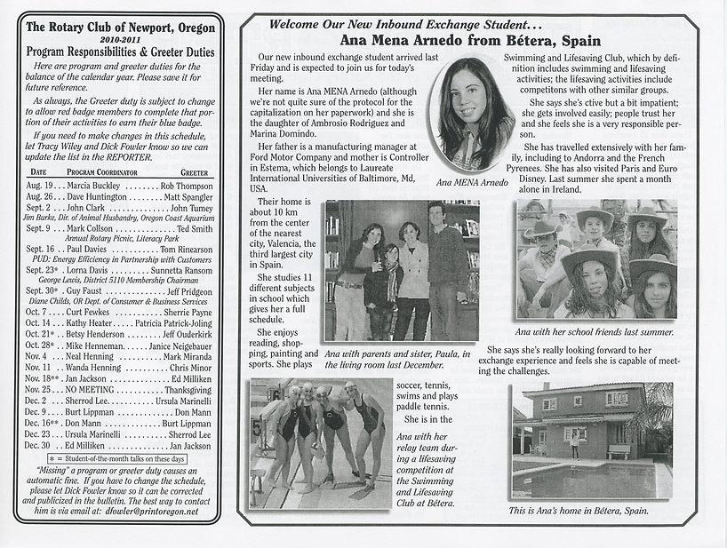 Rotary of Newport, Oregon August 19, 2010 newsletter