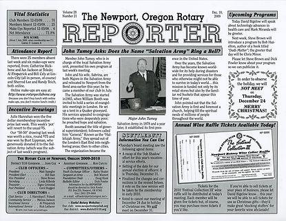 Rotary of Newport, Oregon December 10, 2009 newsletter