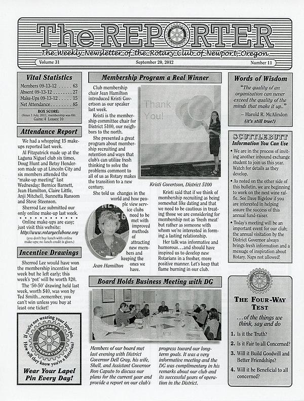 September 20, 2012 Rotary of Newport, Oregon Newsletter.