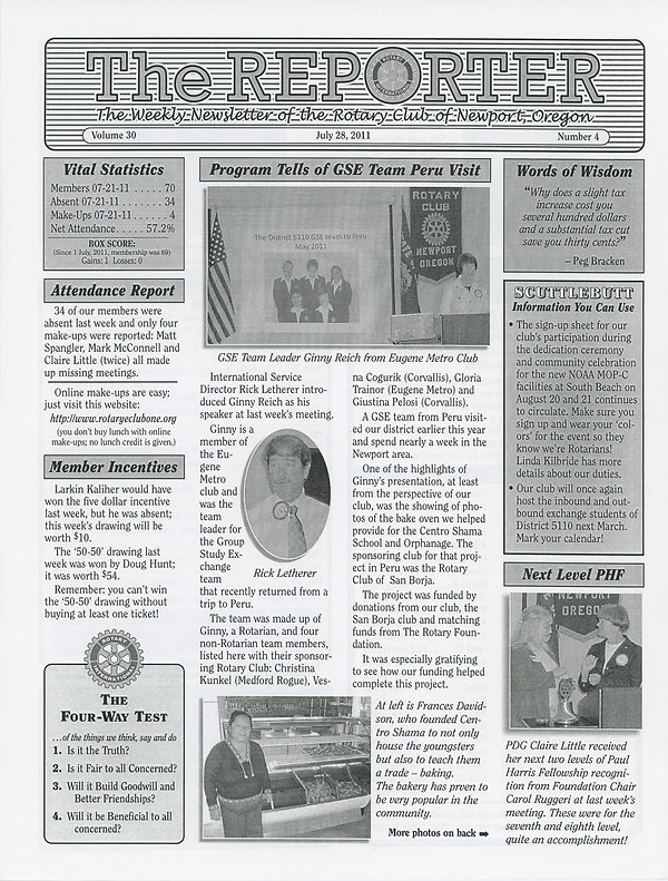 Rotary of Newport, Oregon July 28, 2011 newsletter