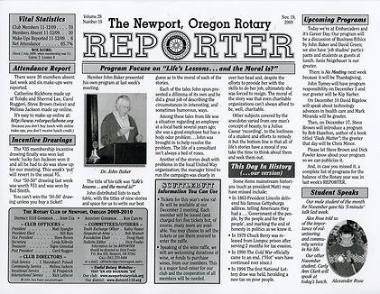 Rotary of Newport, Oregon November 19, 2009 newsletter