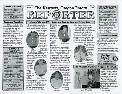 Rotary of Newport, Oregon July 23, 2009 newsletter
