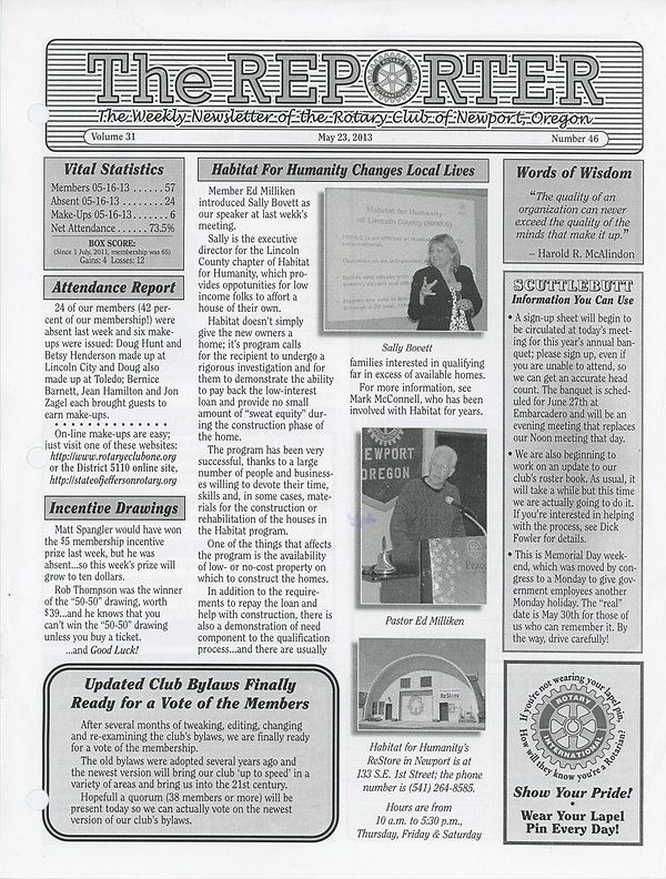 May 23, 2013 Rotary of Newport Newsletter