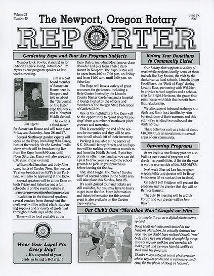 Rotary of Newport, Oregon June 25, 2009 newsletter