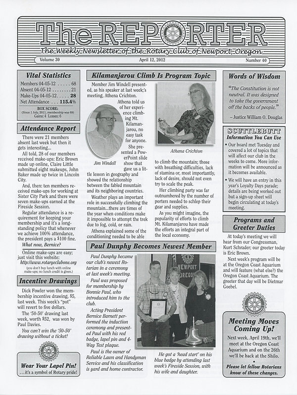 April 12, 2012 Rotary of Newport, Oregon Newsletter