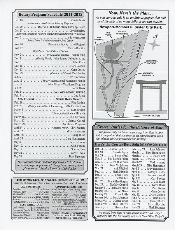 Rotary of Newport, Oregon October 13, 2011 newsletter