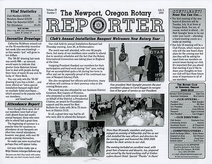 Rotary of Newport, Oregon July 2, 2009 newsletter