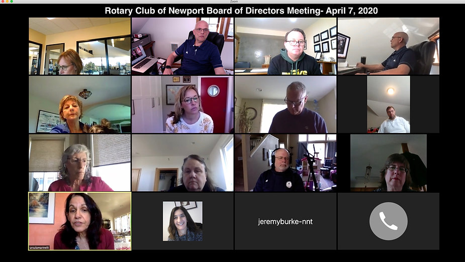 The Rotary Club of Newport Board of Directors meet via Zoom on April 7, 2020.