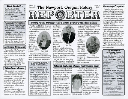 Rotary of Newport, Oregon August 20, 2009 newsletter
