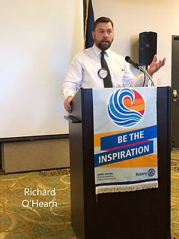 At a Rotary of Newport meeting, Richard O'Hearn talks about the Rotary Foundation.