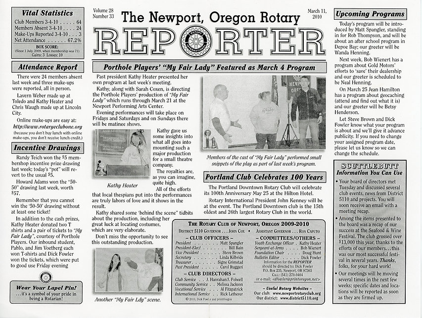Rotary of Newport, Oregon March 11, 2010 newsletter.
