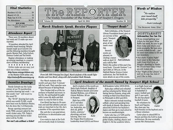 April 10, 2014 Rotary of Newport Newsletter