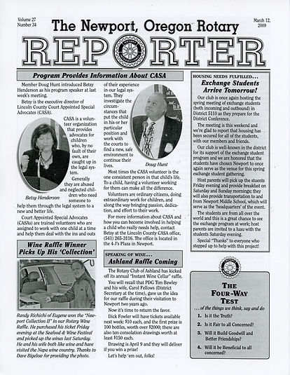 Rotary of Newport, Oregon March 12, 2009 newsletter