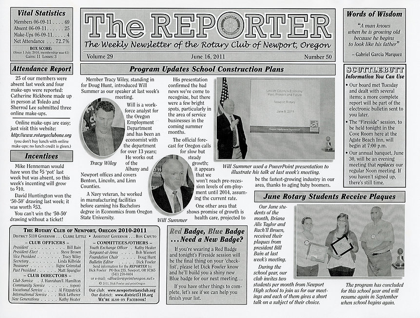 Rotary of Newport, Oregon June 16, 2011 newsletter