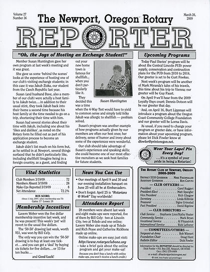 Rotary of Newport, Oregon March 26, 2009 newsletter