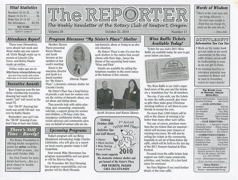 Rotary Club of Newport, Oregon October 21, 2010 newsletter.