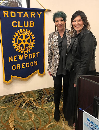 Salon Ethos owner Liz Rose and Advanced Stlylist Janae Wieboldt speak at the February 20, 2020 Rotary of Newport meeting.