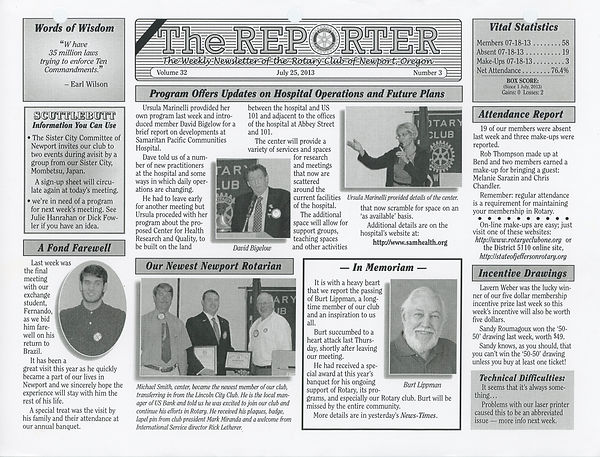 July 25, 2013 Rotary of Newport, Oregon Newsletter