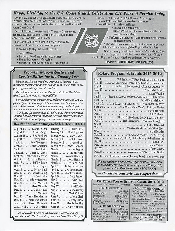 Rotary of Newport, Oregon August 4, 2011 newsletter