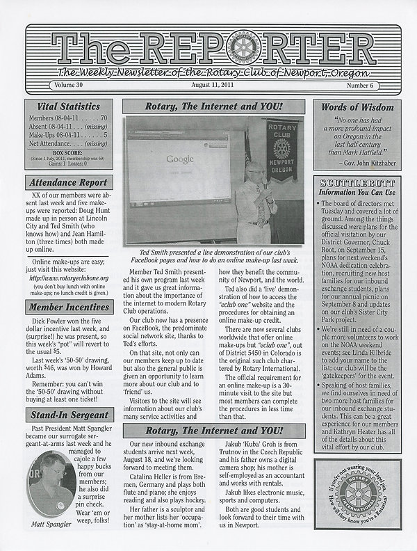 Rotary of Newport, Oregon August 11, 2011 newsletter