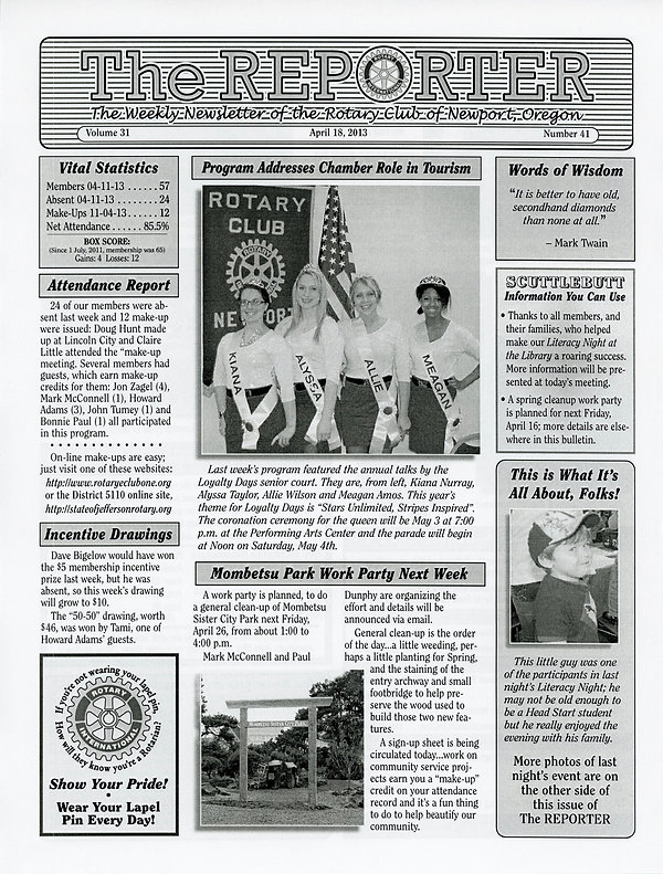 April 18, 2013 Rotary of Newport, Oregon Newsletter