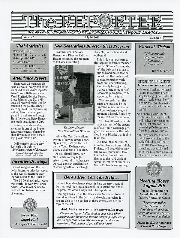 July 26, 2012 Rotary of Newport, Oregon Newsletter.