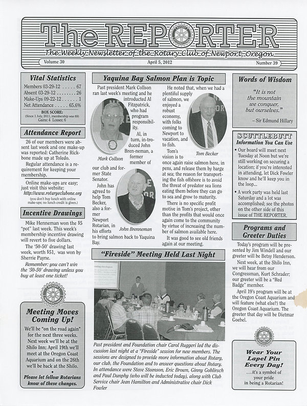 April 5, 2012 Rotary of Newport, Oregon Newsletter