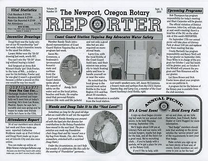 Rotary of Newport, Oregon September 3, 2009 newsletter