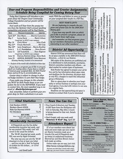 Rotary of Newport, Oregon April 16, 2009 newsletter