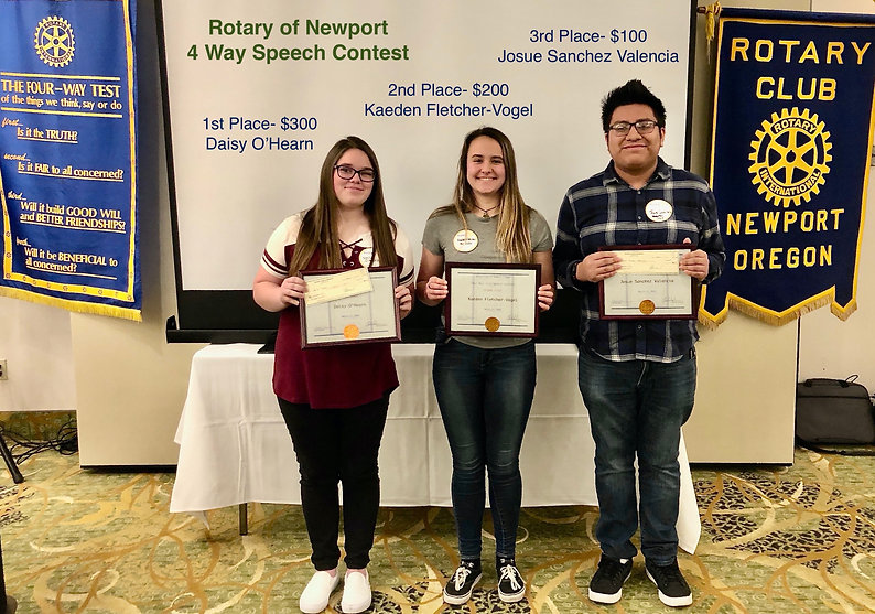 At the March 12, 2020 Rotary of Newport, Oregon meeting Four Way Test speech contestants Daisy O'Hearn, Kaeden Fletcher-Vogel and Josue Sanchez Valencia gave their speeches.