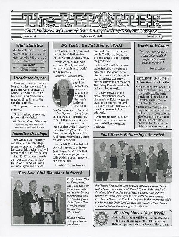 Rotary of Newport, Oregon September 22, 2011 newsletter
