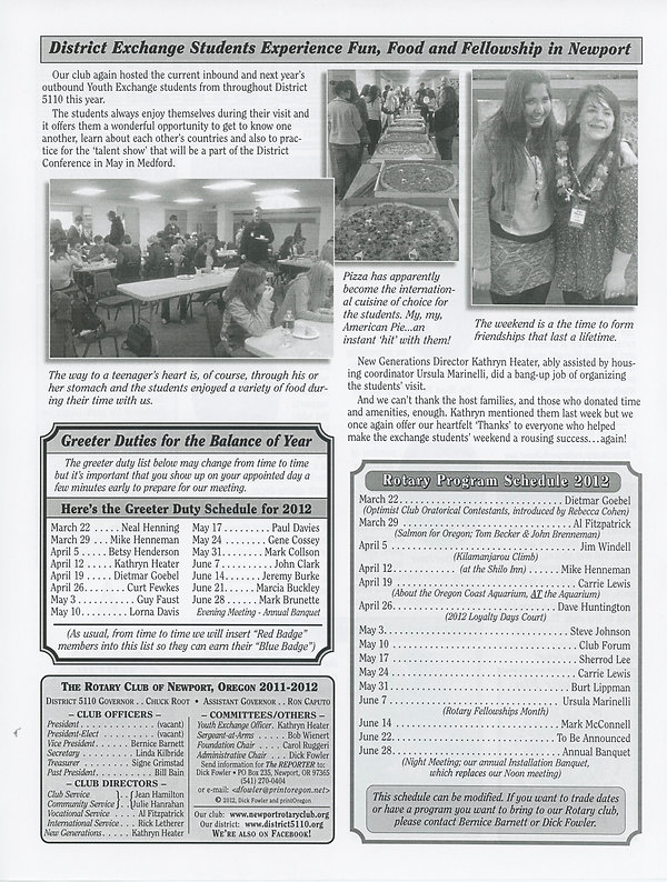 March 22, 2012 Rotary of Newport, Oregon Newsletter