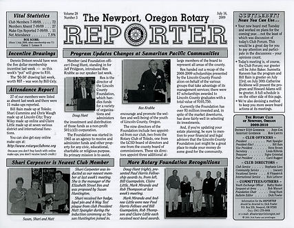 Rotary of Newport, Oregon July 16, 2009 newsletter