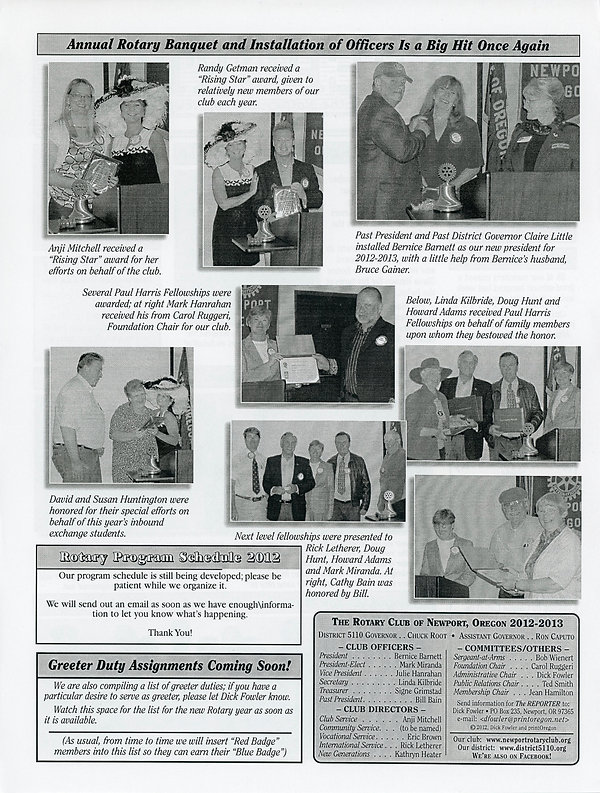July 5, 2012 Rotary of Newport, Oregon Newsletter.