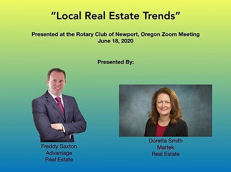 Local realtors Freddy Saxton & Doretta Smith describe the local real estate market at the June 18, 2020 Rotary of Newport, Oregon Zoom meeting.