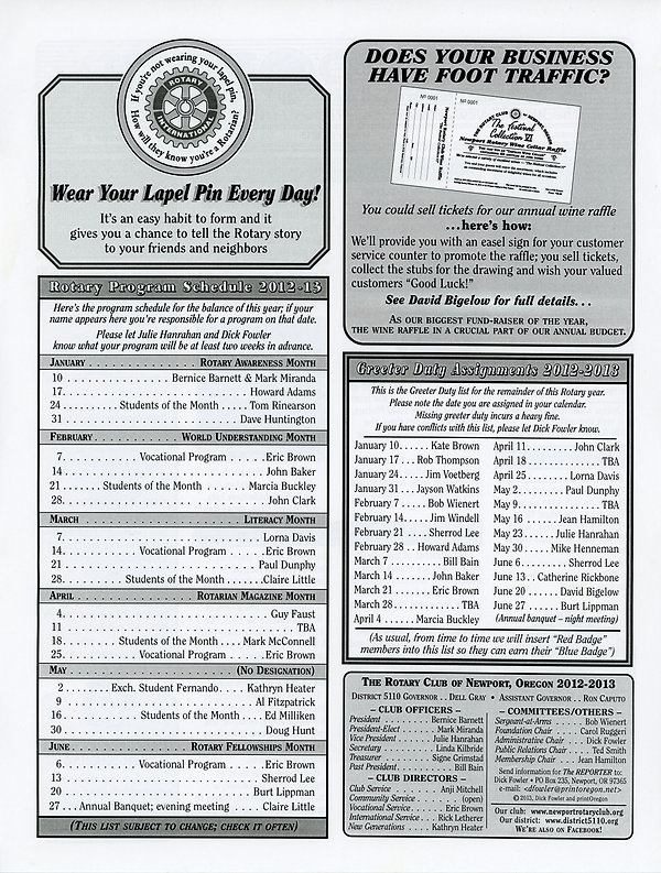 January 10, 2013 Rotary of Newport, Oregon Newsletter