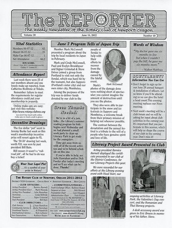 June 14, 2012 Rotary of Newport, Oregon Newsletter.