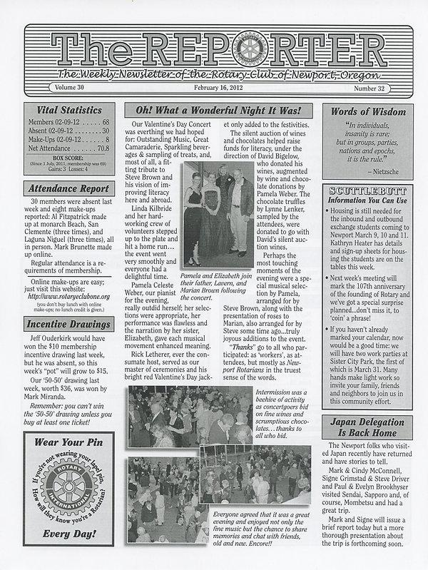 February 16, 2012 Rotary of Newport, Oregon Newsletter