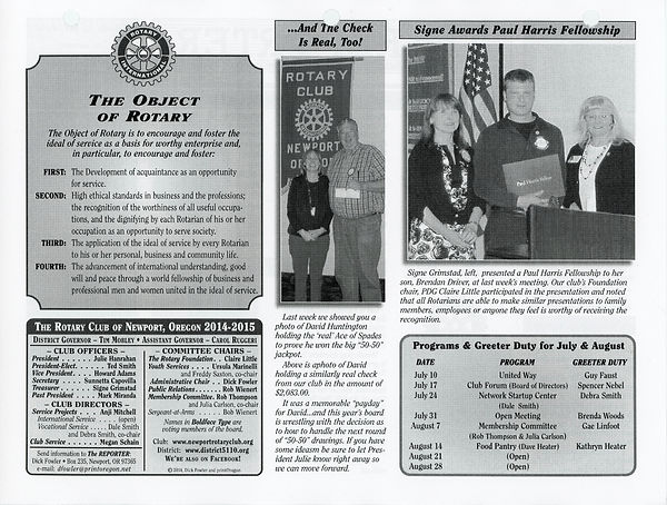 July 10, 2014 Rotary Of Newport, Oregon Newsletter