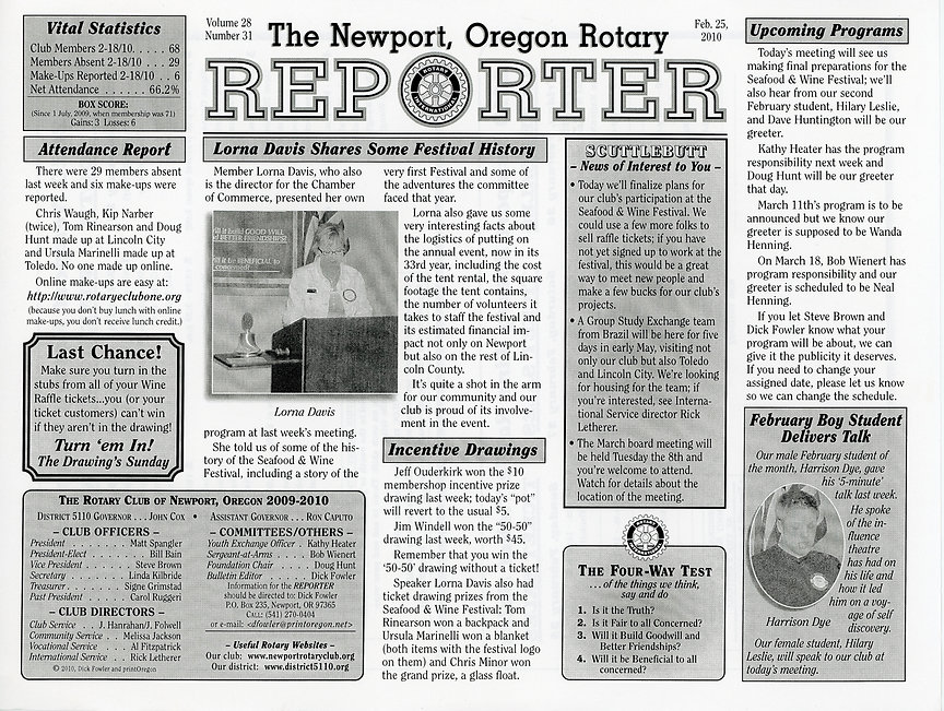 Rotary of Newport, Oregon February 25, 2010 newsletter.